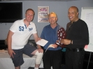Winners Scott Cleaver and George Patel with Alan Kersey (centre)